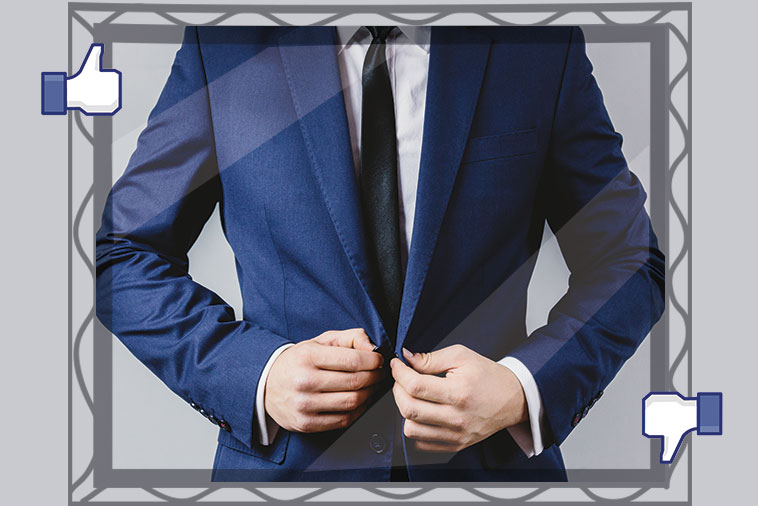Man with suit in mirror